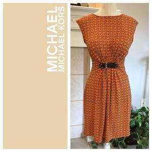 Michael Kors Orange Chain Print Sheath Dress